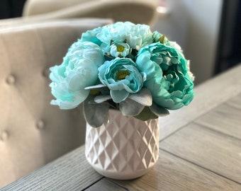 Mint Blue Peonies & Ranunculus | Faux Flower Arrangement in White Ceramic Vase | Home Decor
