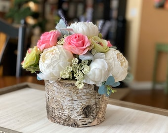 Spring Fairytale Faux Flower Arrangement with Moss in Real Birch Vase | Pink Roses + Green Ranunculus + Mixed Flowers | Mother's Day Flowers