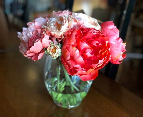 Coral Peonies Ranunculus Silk Flower Arrangement In Glass Etsy