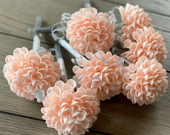Dahlia Flower Pens - Wedding Favors -Bridal Gifts - Birthday Favors - Gifts -Stationary Gifts - Blush Pink Flower Pen