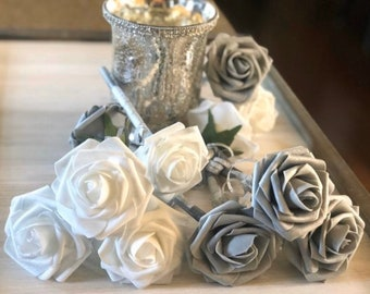 Gray & White Rose Flower Pens - Wedding Favors -Bridal Gifts - Birthday Favors - Gifts -Stationary Gifts -