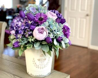 Purple & Teal Hydrangea Faux Flower Arrangement in Cream Metal Paris Container | Mums | Peonies | Lamb's Ear | Farmhouse Flowers
