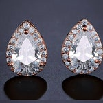 "PAIR ROSE GOLD Tear Drop Crystal Vintage Wedding Prom gauges plugs tunnels earrings 2g 0g 00g 7/16"" 1/2"" 6mm 8mm 10mm 11mm 12mm"
