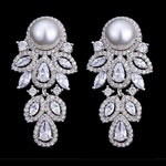 "Pair Pearl Leaf Dangle Drops SILVER Wedding Gauges tunnels Plugs earring 8g 6g 4g 2g 0g 00g 7/16"" 1/2"" 3mm 4mm 5mm 6mm 8mm 10mm 11mm 12mm"