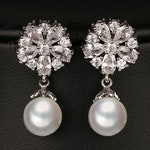 PAIR Small Round Flower Pearl Dangle Crystal Vintage Silver tunnels gauges plugs earrings 8g 6g 4g 2g 0g 00g 4mm 5mm 6mm 8mm 10mm
