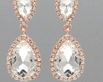 "PAIR Rose Gold Oval Dangle Crystal Vintage Wedding Prom gauges plugs tunnels 2g 0g 00g 7/16"" 1/2"" 9/16"" 6mm 8mm 10mm 11mm 12mm 14mm"