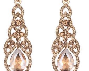 Water-Drop Crystal Drop Long Earrings Champagne Elegant Bridal Wedding Gauges Plugs 8g 6g 4g 2g 3mm 4mm 5mm 6mm