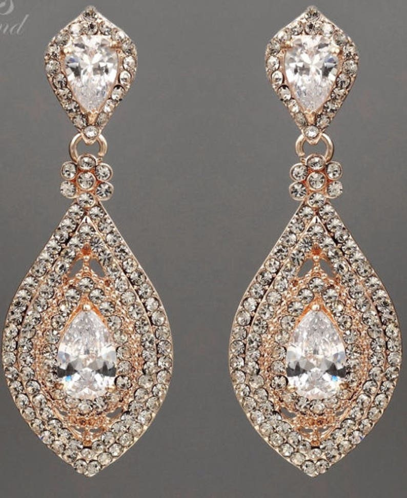 PAIR Rose Gold Crystal Rhinestone Bridal Drop Chandelier Prom image 0