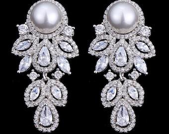 "Pair Pearl Leaf Dangle Drops SILVER Wedding Gauges tunnels Plugs earring 8g 6g 4g 2g 0g 00g 7/16"" 1/2"" 3mm 4mm 5mm 6mm 8mm 10mm 11mm 12mm"