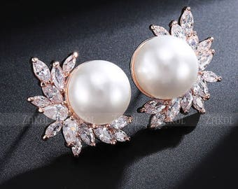 Rose Gold Pearl Floral Earrings  - Pearl Gauges - Bridesmaid Gift - Pearl Plugs - Wedding Gauges - Wedding Plugs - Wedding Jewelry