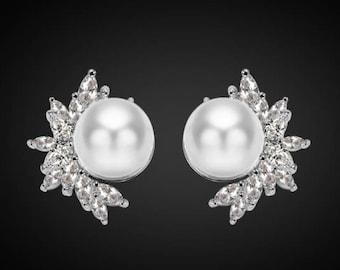 "PAIR Silver Leaf Floral Pearl Crystal Bridal Wedding Tunnels Gauges Plugs Earrings 1/2"" 9/16"" 5/8"" 11/16"" 12mm 14mm 16mm 18mm 19mm"