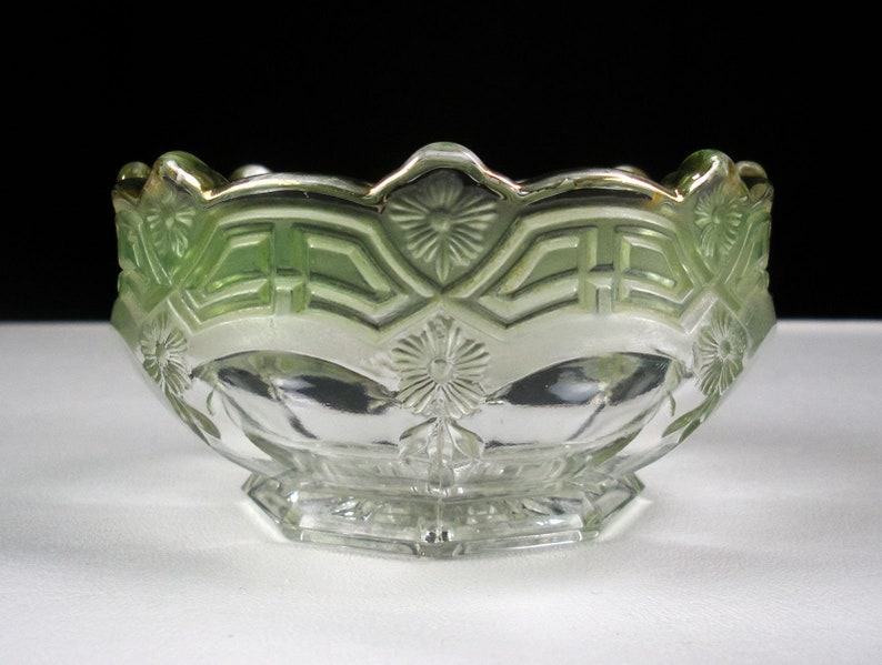 US Glass Reverse 44 Sauce Bowl with Green and Gold Berry Antique EAPG Athenia