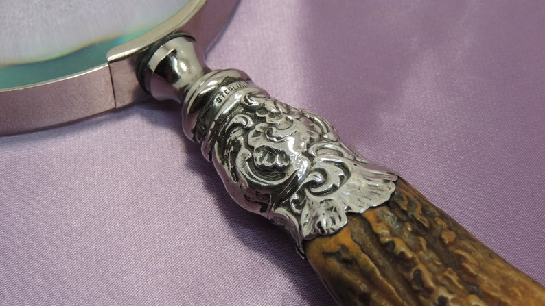Early Stag Handle with Sterling Silver Mounts Magnifying Glass