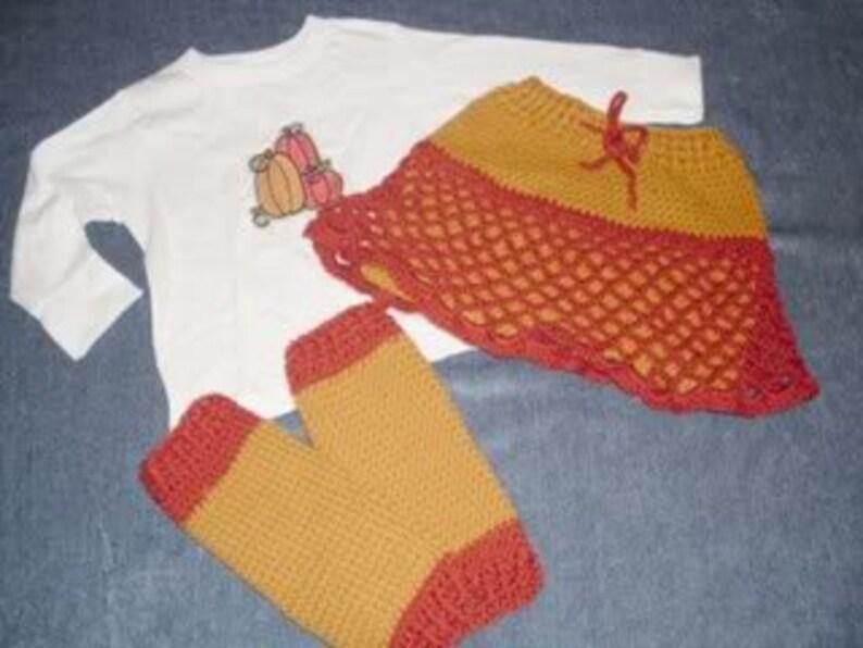 Autumn Harvest Crocheted Wool Skirty set skirt, shirt /& leg warmers