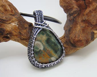 Ocean Jasper  Pendant - Wire Wrapped Pendant - Wire Wrapped Jewellery Handmade - Wire Jewellery - Jasper Necklace