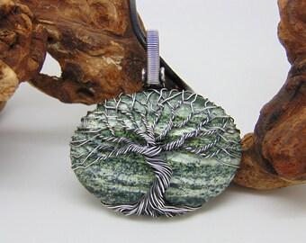 Jasper Tree Of Life Necklace, Zebra jasper pendant, Yggdrasil Norse jewellery, One of a kind statement Jewellery