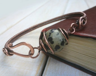Dalmatian Jasper Bangle - Wire Wrapped Jewellery Handmade - Jasper Jewellery - Copper Bracelet