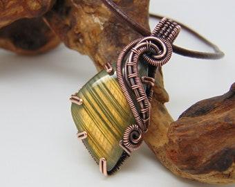 Orange Labradorite Pendant - Wire Wrapped Jewellery - Copper Necklace - Prong Set - Stripy Labradorite