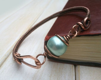 Blue Shell Pearl Bangle - Wire Wrapped Jewellery Handmade - Copper Jewellery - Shell Pearl Bracelet