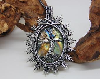Tree Of Life Pendant- Wire Wrapped Jewellery - Yggdrasil World Tree - Norse Mythology - Rainbow Labradorite Pendant