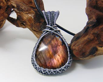 Orange Labradorite Pendant - Wire Wrapped Jewellery Handmade - Pink Labradorite - Labradorite Pendant Necklace - Gemstone Necklace