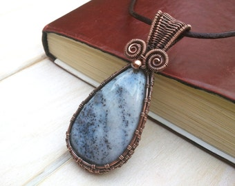 Dendrite Agate Pendant -  Copper Pendant -  Wire Wrapped Jewellery Handmade - Gemstone Jewellery