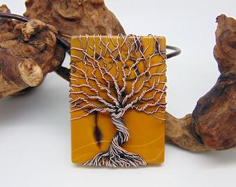 Mookaite Tree Of Life Pendant - Wire Wrapped Jewellery Handmade - Copper Jewellery - Yggdrasil Pendant - Mookite Pendant - Mustard Yellow