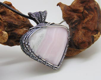 Pink Calcite Pendant - Wire Wrapped Jewellery Handmade- Pink Stone Necklace - Pastel Colours - Calcite Pendant
