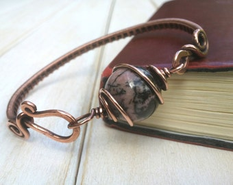 Rhodonite Bangle  - Wire Wrapped Jewellery Handmade - Copper Bangle - Rhodonite Bracelet