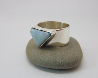 Aurora Opal Ring - Sterling Silver Ring - Opal Jewellery - Geometric Ring - Minimalist Jewellery - Triangle Ring - US Size 8 - UK Size P.