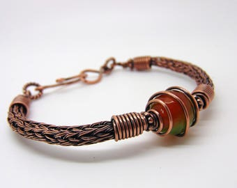 Agate Wire Wrapped Bracelet - Viking Knit Bracelet - Copper Bracelet - Torque Bracelet - Wire Wrapped Jewellery Handmade
