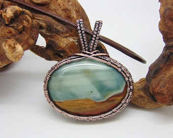 Polychrome Jasper  Pendant - Wire Wrapped Pendant - Handmade Jewellery - Copper Pendant - Desert Jasper Necklace