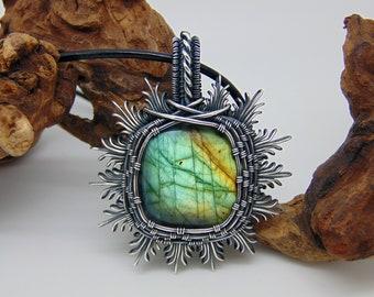 Square Labradorite Pendant - Wire Wrapped Jewellery - Filigree Jewellery - Sunburst Necklace - Green Stone Jewellery  - Filigree Pendant