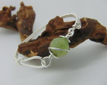 Prehnite Bangle  - Wire Wrapped Jewellery Handmade - Woven Bangle - Prehnite Bracelet - Green Stone Jewellery