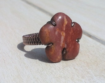 Mookaite Wire Wrapped Ring - Wire Wrapped Jewellery Handmade - Wire Jewellery - Mookaite Jewellery