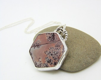 Sonoran Dendritic Rhyolite Pendant - Sterling Silver Necklace - Silver Pendant - Hexagon Necklace - Rhyolite Jewellery - Hallmarked Silver