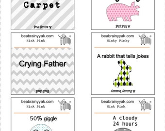 image regarding Hink Pinks Printable titled Lunch Notes as a result of Brainy Yak LLC by way of BrainyYakLLC upon Etsy