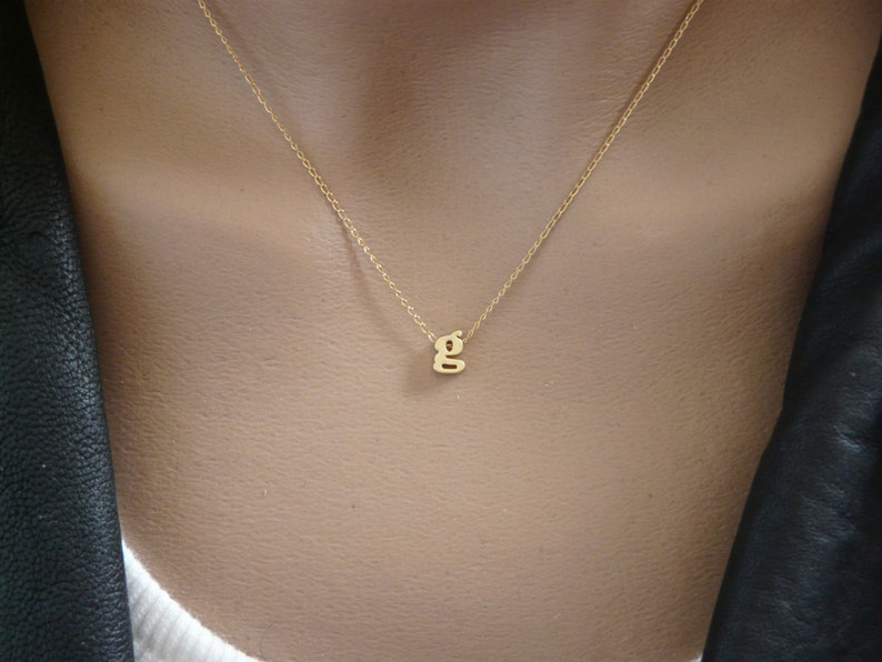 Initial pendant Tiny lowercase Initial Necklace Gold Letter Personalized Initial necklace Bridesmaid gift Initial jewelry