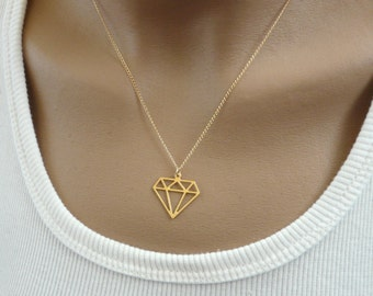 Diamond geometric necklace, Geometric jewelry, Modern jewelry, Diamond pendant, Geometric pendant, Layering necklace