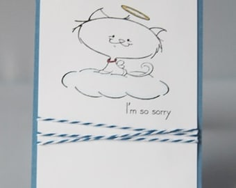 Loss of Cat Pet Sympathy Hand Made Card, Sorry for Your Loss Pet Note Card, Loss of Furry Friend