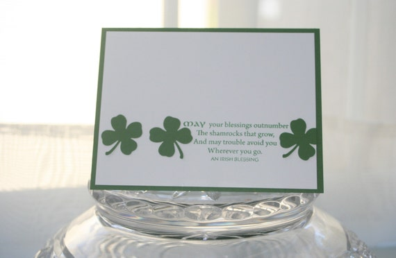 Irish Blessing and Shamrocks St. Patrick's Day Card, Wishing You Luck Thinking of You Card