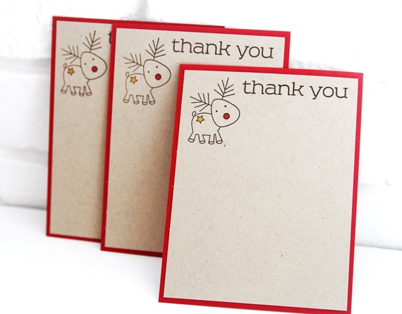 Reindeer christmas thank you notes christmas stationery kids etsy image 0 m4hsunfo