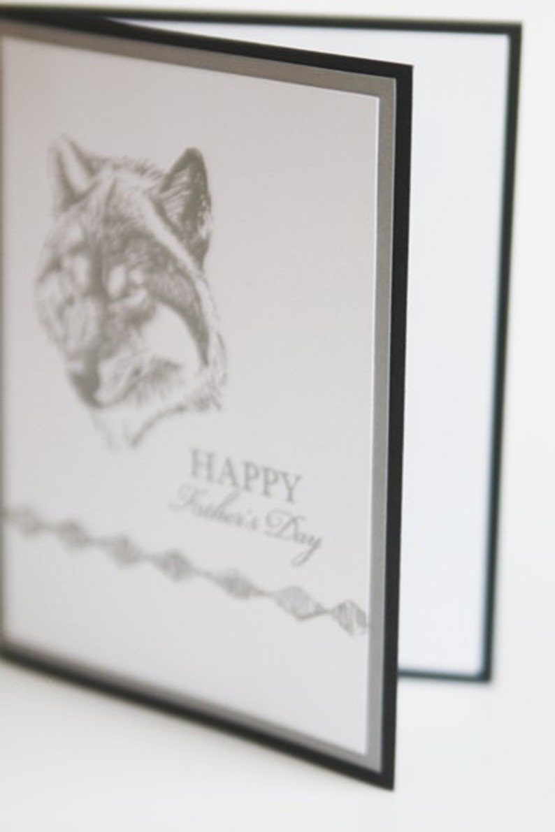 Hand Made Card for Grandfather Stepdad Note Card Grey Wolf Father/'s Day Card Thinking of You Dad Greeting Card