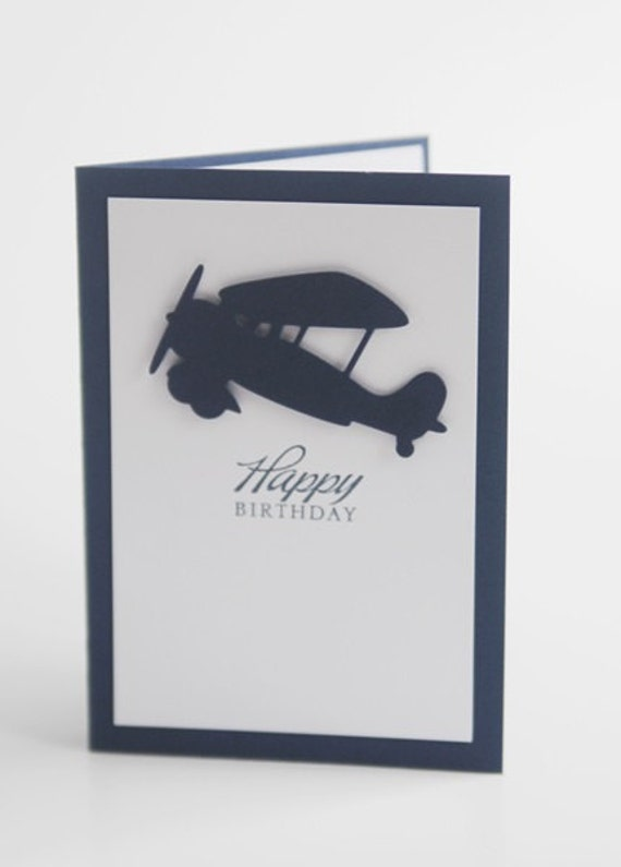 Happy Birthday Airplane Hand Made Card For Son Masculine