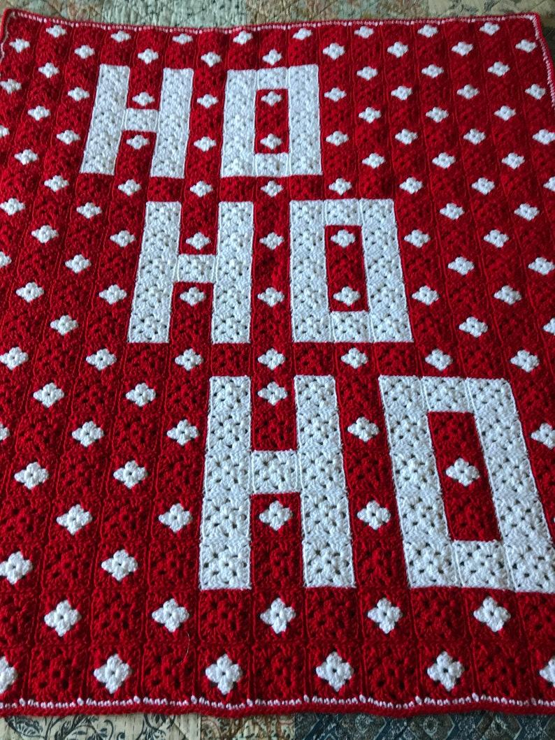 HO! HO! HO! blanket afghan throw Christmas holiday crochet handmade