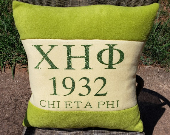 """Chi Eta Phi Nurses Sorority Greek Glittered Letters 16"""" Color Blocked Pillow/Chi Eta Phi Glittered Greek Letters/Chi Eta Phi Pillow"""