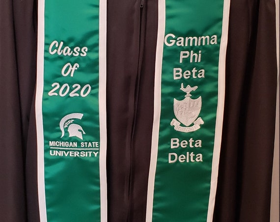 SATIN GRADUATION STOLE/Slant Bottom/Satin Trim/Custom Embroidered Graduation Stole-Sash- Greek Letter /Monogrammed /Class of 2020
