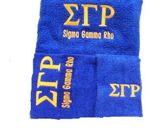 SIGMA GAMMA RHO  3 piece Towel Set (Bath, Hand and Wash)
