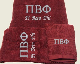 PI BETA PHI Greek Lettered Embroidered 3 Piece Towel Set