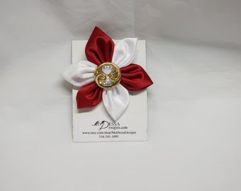 Red and White  6 Petal Satin Fabric Flower Pin/Brooch/ 6 Pedal Satin Flower Pin/Satin Lapel Pin/Red  n White Sorority Colors